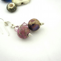 Purple coloured Jasper Drop earrings with swarovski, earrings, metalsmith uk.