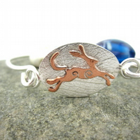 Running copper hare bangle, Hare and Moon bracelet