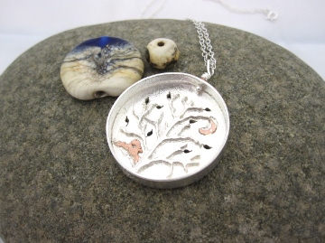 Hare and Tree Scenic pendant, copper Hare and leafy silver tree.