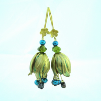 Brass Parrot Tulip Flower  Drop earrings - (made by artist maker) Tulip Design