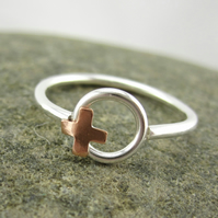Copper Kiss, Silver Hug Ring. XOXO, Silver Ring A Kiss & A Hug xoxo size M , N