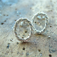 Small Silver Stud Oval Earrings  - Twisted cable design dainty, round, pure