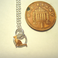 A Teeny Tiny Kitten Necklace Copper & Silver Pendant   Necklace, Gift, Cat.