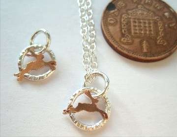 A Teeny Tiny Hare, Necklace Copper & Silver Pendant   Necklace, Gift, Rabbit.