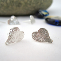 Silver Heart Stud Earrings  UK Eco Sterling Silver Reticulated Metalsmith.