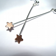 Copper & Silver Star  Drop earrings - (made by artist maker) Dainty Star Design