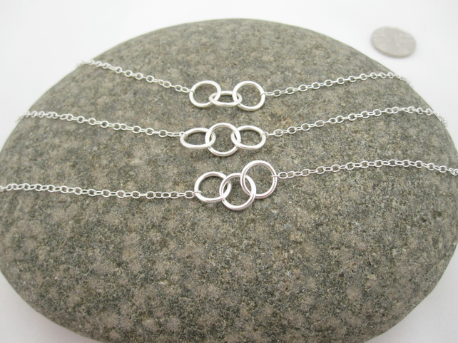 Set of Three Three Sisters Silver Necklaces  - Round, Sisters, Rings Triple