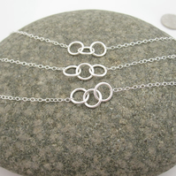 One Simple Three Sisters Silver Necklaces  - Round, Sisters, Rings Triple