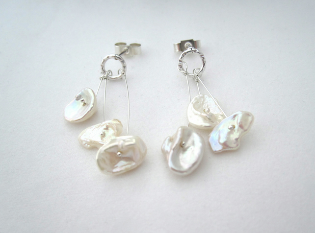 Pearl Earrings  -  Gentle Poppies Silver Drop Earrings, Freshwater Pearl.