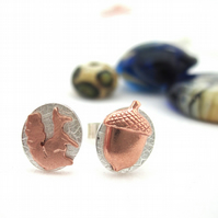 Wood Land Earrings Copper & Silver Acorn & Squirrel posts