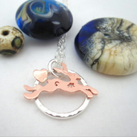 Hare Silver Circle Heart Pendant with Copper Hare, Necklace.