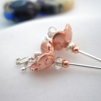 Little Flower Drop earrings -Copper Silver (made by artist maker) Bell Design.