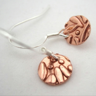 Copper & Silver Drop earrings - Round  silver copper earrings. Tiny drops.