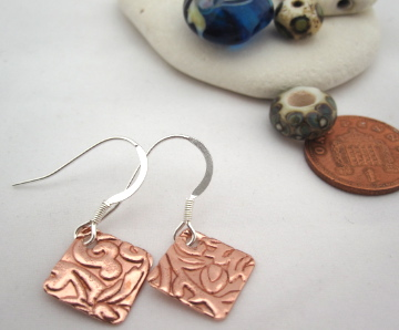 Copper & Silver Drop earrings - Square silver copper earrings Med. Hook Earrings