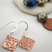 Copper & Silver Drop earrings - Square silver copper earrings . Hook Earrings