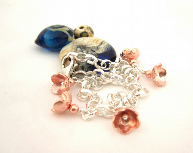 Silver and Copper Bell Flower Drop bracelet - silver bracelet, flower jewellery