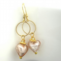 oosPink Glass Heart Hoop Earrings Wedding Sweet Heart Gold Silver Venetian Glass