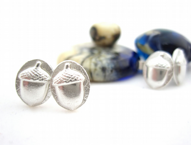 Acorn Wood Land Earrings  Silver Acorns Wolds Way Stud Earrings