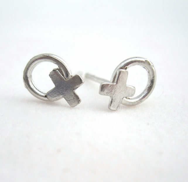 Earrings Silver Kiss, Silver Hug Earrings. Studs, OXOX handmade xoxo