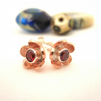 Copper flower Crystal stud earrings - silver, handmade, metalsmith, daisy petals