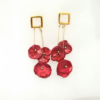 Red Poppies Pearl Earrings, Vermail Gold Drop Earrings, Freshwater Keishi Pearl.