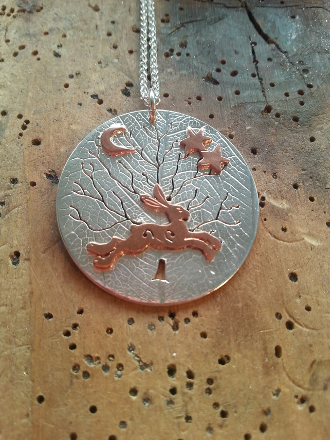 Silver Tree of Life Pendant with Copper Hare, Necklace, Freedom, Stars, Lunar