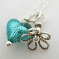 Silver Flower & Venetian Glass Heart &  Sterling Flower Pendant, Turquoise.
