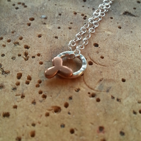 Tiny Little Triquera Necklace, silver necklace, three petal flower, copper
