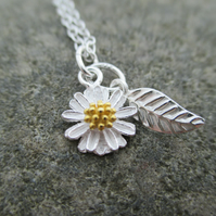 Silver gold Flower Necklace. Little Petal Sterling Silver & Gold Pendant