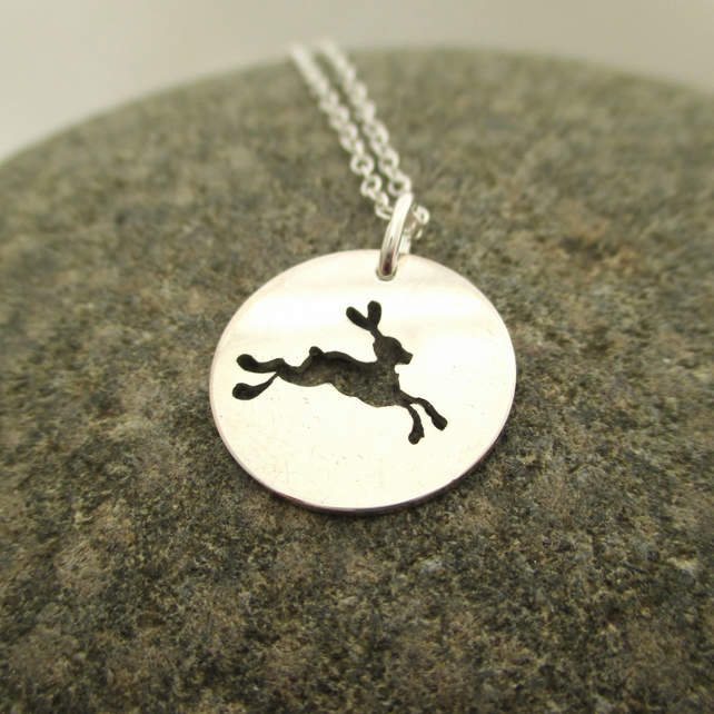 Hare Necklace. Running Hare Sterling Silver Pendant made by artist maker.