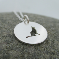 Cat Necklace. Little Cat Sterling Silver Pendant hand sawn by artist maker.