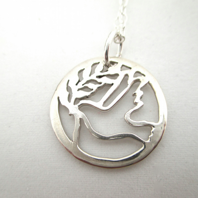 Dove Bird Necklace. Sterling Silver Peace Pendant made by metalsmith
