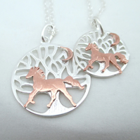 Mother Daughter Horse Tree of Life Necklaces. Two Silver Copper Pendants