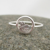 Little Bird Silver dainty ring Silver Ring Songbird Ring, Tweet!