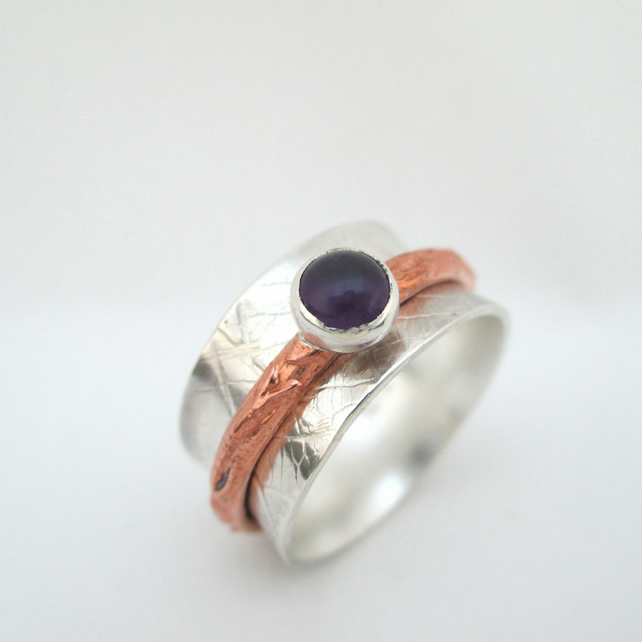 out of stockContemporary Silver Amethyst Spinning Ring Fiddle ring Karma ring.