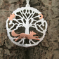 Running Fox Silver Tree of Life Pendant, Silver Necklace, Fox, Stars, Moon