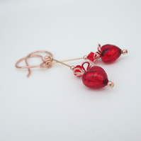 Rose Gold Red Heart Earrings Venetian Murano Glass & Rose Gold plated Ag