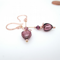 Rose Gold Amethyst Heart Earrings Venetian Murano Glass & Rose Gold plated Ag