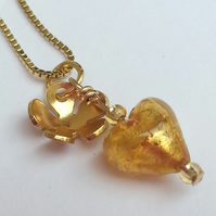 Gold Heart and flower Venetian Glass Necklace Gold plated Sterling Silver