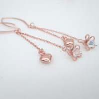 Rose Gold & Crystal Long Drop Earrings, Rose Gold Vermail Hearts Flowers.