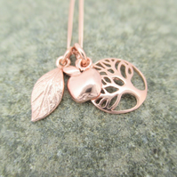 Rose Gold Tree Apple Leaf Necklace Positive Symbols Pendant.Rose Gold plated Ag