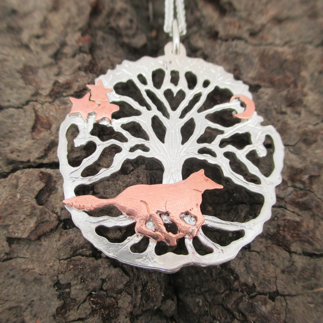 Running Wolf Silver Tree of Life Pendant, Silver Necklace, Wild Wolf Star Moon