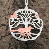 Running Wolf Silver Yorkshire Tree of Life Pendant,Necklace, Wild Wolf Star Moon