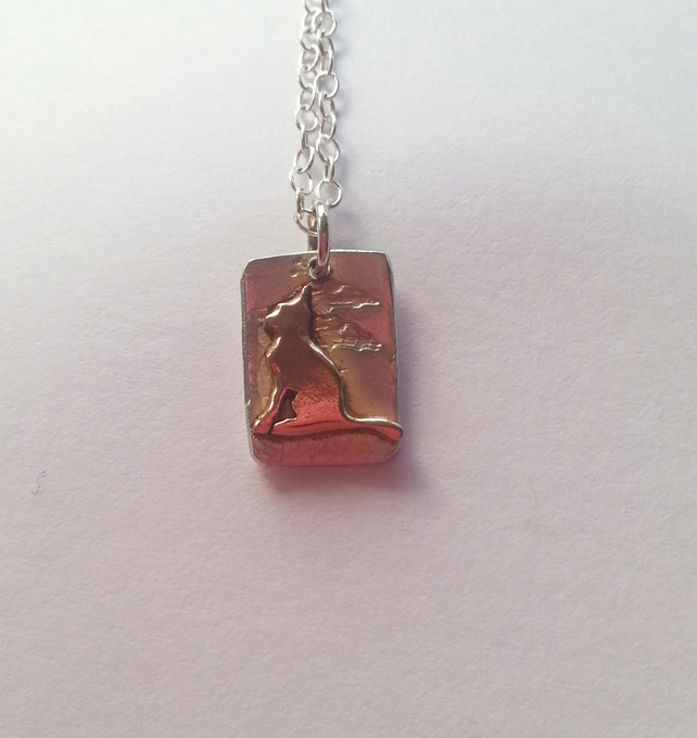 Cat Necklace Copper Cat and Silver Pendant - Kitten necklace