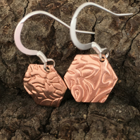 Copper & Silver Drop earrings - Hexagon silver copper earrings . Hook Earrings