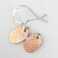 Copper & Silver Drop earrings - Oval silver copper earrings . Hook Earrings.