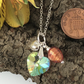 Three Hearts Necklace. Crystal, Venetian glass and Silver Pendant. Three Hearts.