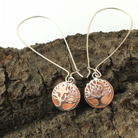 Star and Moon Silver Tree of Life Ball Earrings, Long Drop, Stars, Moon, Copper.