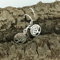 Silver Tree of Life Earrings, sterling silver drop earrings.