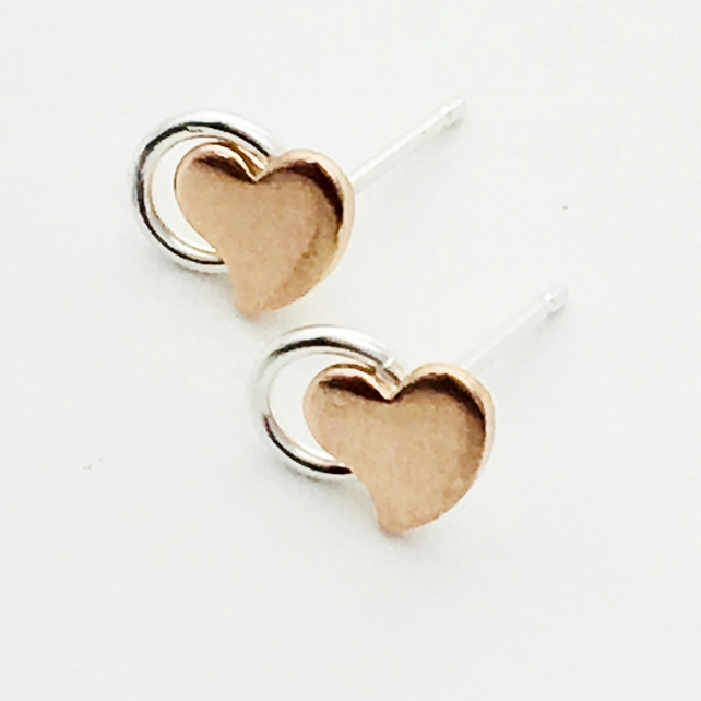 Silver copper Heart Circle Earrings. Stud earrings, handmade metalsmith